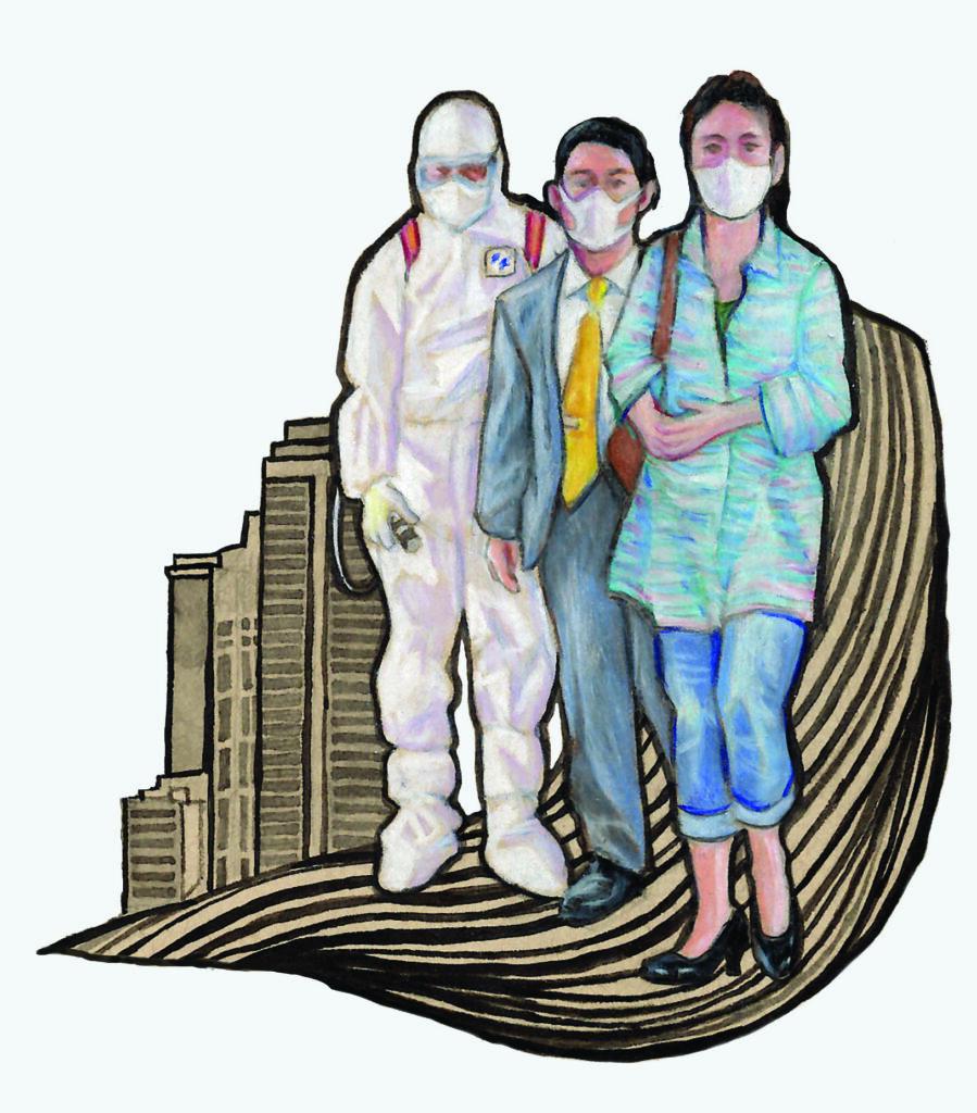 Illustration of people in masks