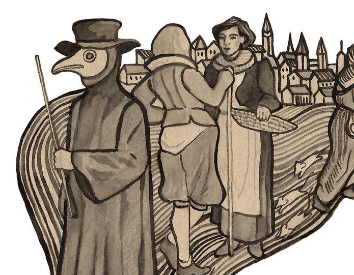 detailed illustration of plague doctor mask